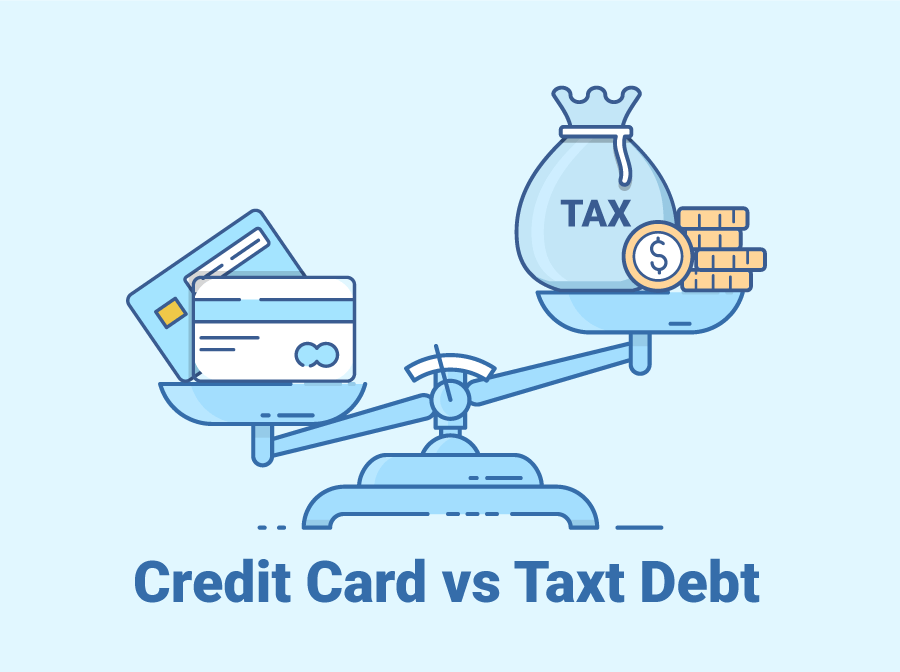 Scales weighing Credit Card Debt and Tax Debt